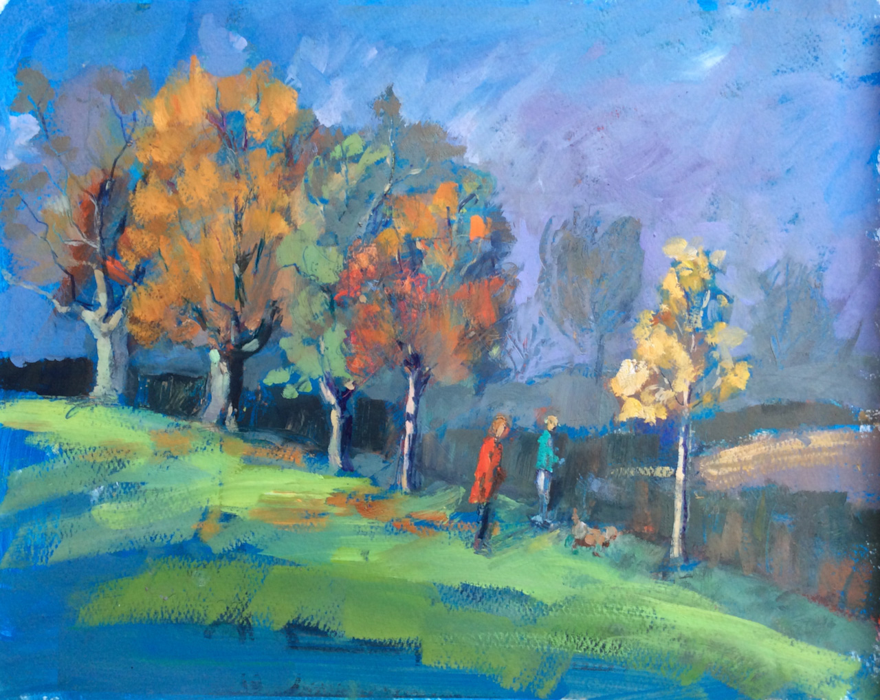 2512 Mist clearing Cutteslowe Park 28x38cm oil on paper SOLD
