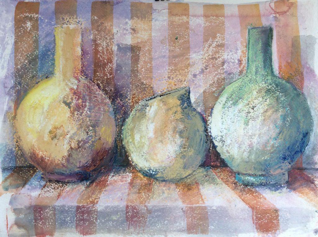 Three Pots on Stripes 50x40cm mixed media on handmade paper £450
