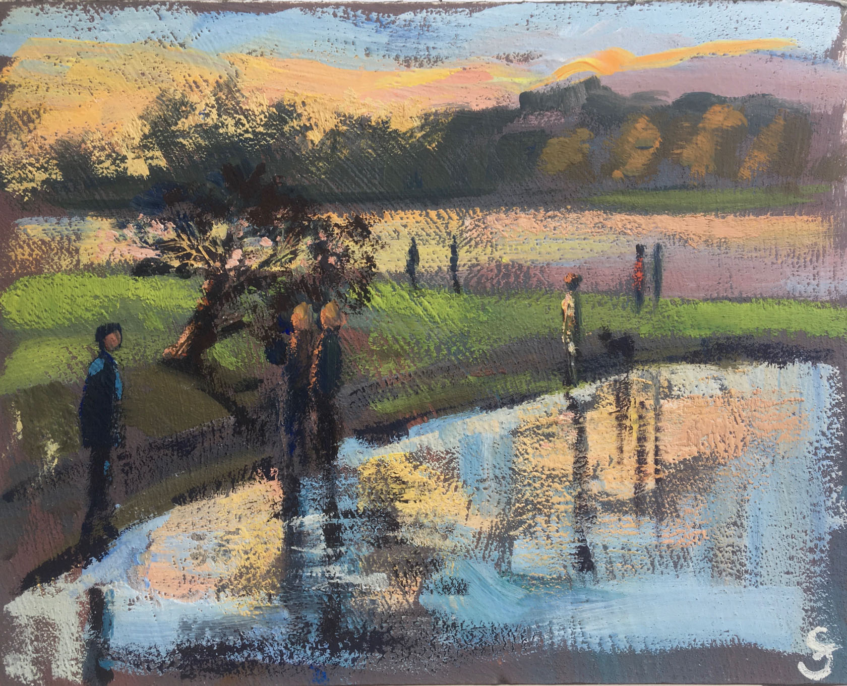 Port Meadow with tree sunset 20x16cm SOLD