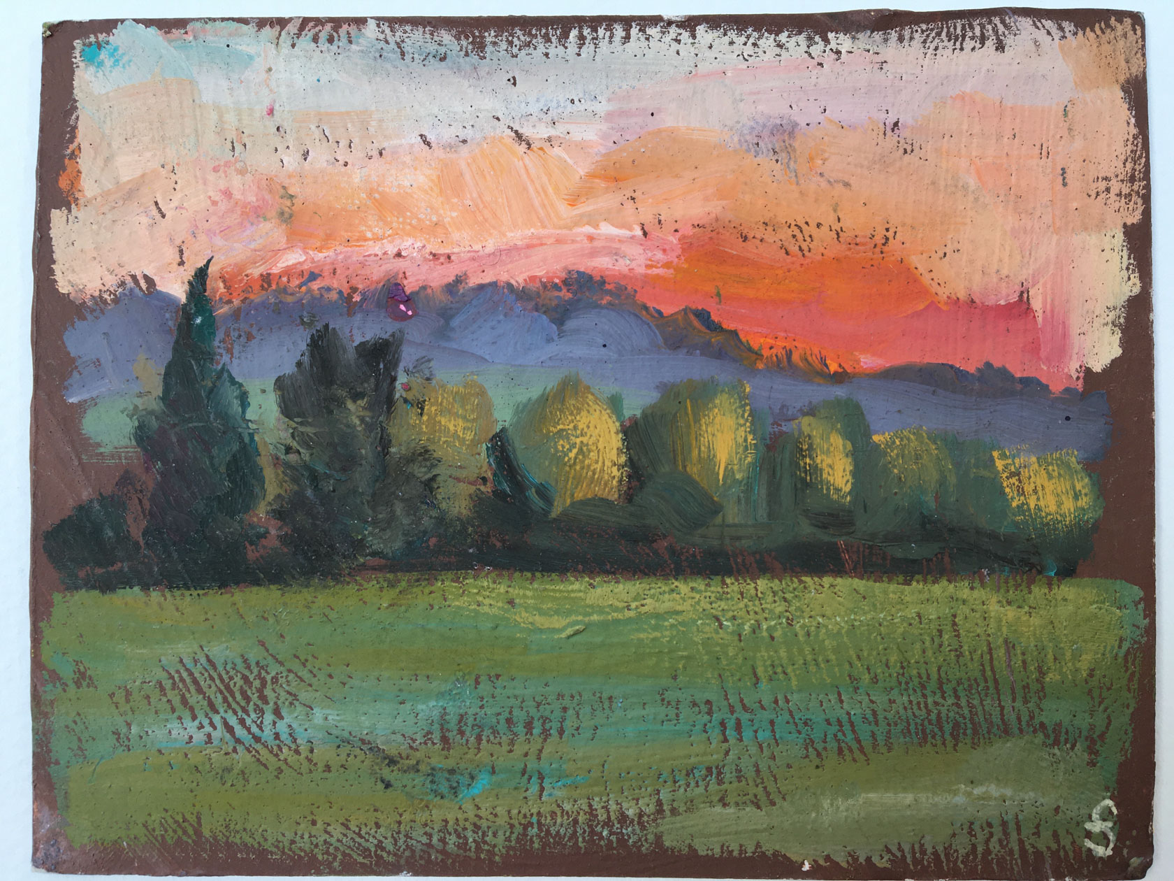 Sunset Port Meadow 3 16x13cm SOLD